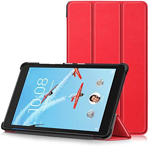 TTVie Hoes voor Lenovo Tab E8, Ultraslanke Lichtgewicht Slimme Standaard Beschermhoes voor Lenovo Tab E8 8 Inch Tablet 2018 Release, Rood