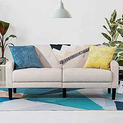 Vongarsig Small Modern Loveseat Couch, 2-Seat 63 inch Mid-Century Upholstered Fabric Tufted Living Room Loveseat Sofa for Home, Office, Apartment and Small Space