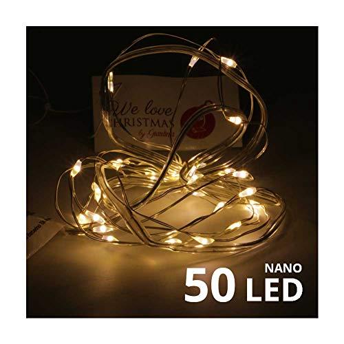 We Love Christmas Catena a Batteria 50 Nano LED a Luce Calda con Filo modellabile