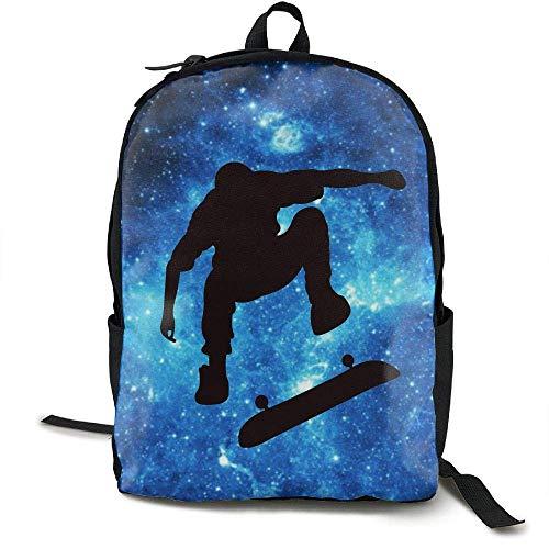 Skater Silhouette Doing Ollie Skateboard Trick Fashion Lightweight Canvas Travel Backpack for Women & Men