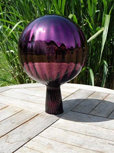Gartenkugel Violett verspiegelt ca. 15 cm durchmesser Gesammthöhe 22cm Kugel, handgefertigt gold Rosenkugel gartenkugeln, Gartendeko, Deko, Gartendeko Rosenkugeln Glas Garten lichtbeständig Feng Schui
