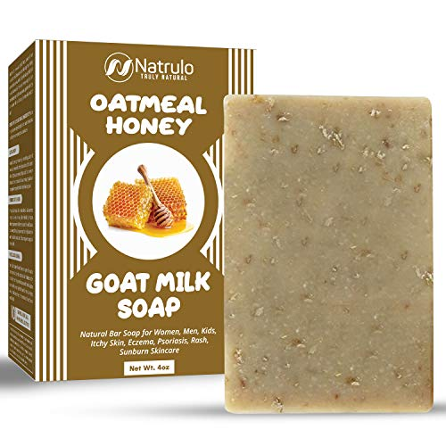 Cactus Honey & Oats Goat's Milk Soap Bar 4 oz – Natural Bar Soap for Women, Men, Kids, Itchy Skin, Eczema, Psoriasis, Rash, Sunburn Skincare – Calming Colloidal Oatmeal Face Cleanser & Body Wash