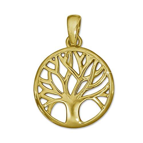CLEVER SCHMUCK Goldener kleiner Anhänger Lebensbaum Ø 14 mm glänzend und schlicht teils offen 333 GOLD 8 KARAT