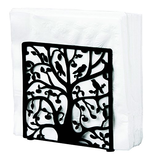 Black Metal Tree & Bird Design Tabletop Napkin Holder/Freestanding Tissue Dispenser