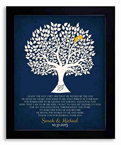 8x10 Framed Art Print - Personalized Thank You Gift for Mother of Groom I Knew The Day I Met Him Parents of Groom Gift Family Wedding Poem Tree Gift - With Solid Wood Frame & Gift Wrapping LTC-P1115