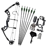 MILAEM Archery Compound Bow Hunting Bow with Carbon Arrows 30-55lbs Adjustable 310FPS Adult