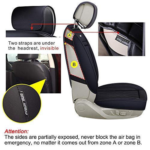LUCKYMAN CLUB 5 Car Seat Covers Full Set with Waterproof Leather Universal for Most Sedan SUV Truck Fit for Elantra Sonata Sportage CRV Accord Chevy Equinox (Black Full Set)