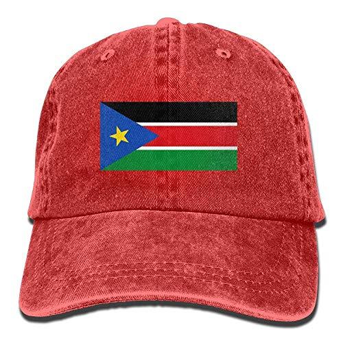 Ahdyr Gorra de béisbol Unisex Sombrero de Mezclilla Bandera de Sudán del Sur Gorra de Caza con Snapback Ajustable-Rojo