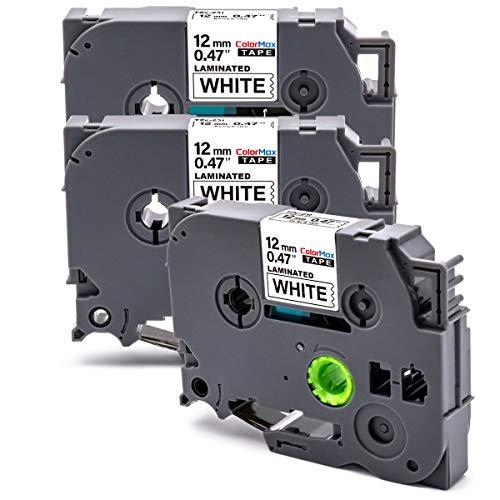 Colormax 3x Compatibile PTouch Nastro Sostituzione per Tze Etichette 12mm 0.47 Tze-231 Tze231 per Brother P-Touch P300BT Cube 1000 1010 H107 H105 H200 D600VP D400 H101C E100, 12mm x 8m Nero su Bianco