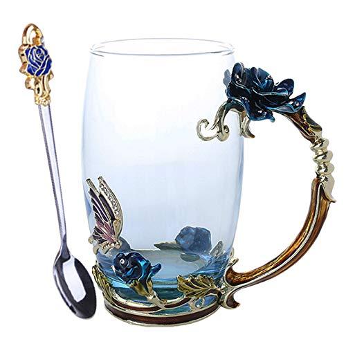 Blumen-Tee-Schale, feeilty Neuheit-Emaille-Kaffee-Tee-Schalen-Becher 3D Rose Butterfly Glass Cups Wedding Gift