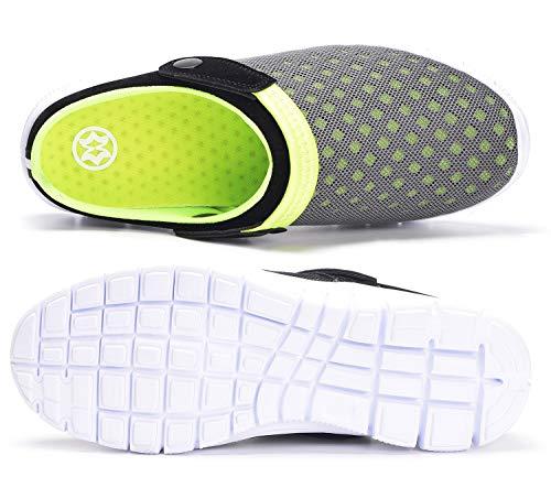 Zuecos Hombres Mujeres Unisex Zapatillas de Playa Sandalias Piscina Vernano Zapatos de Jardín Respirable Malla Casual Pantuflas - Verde, 44 EU