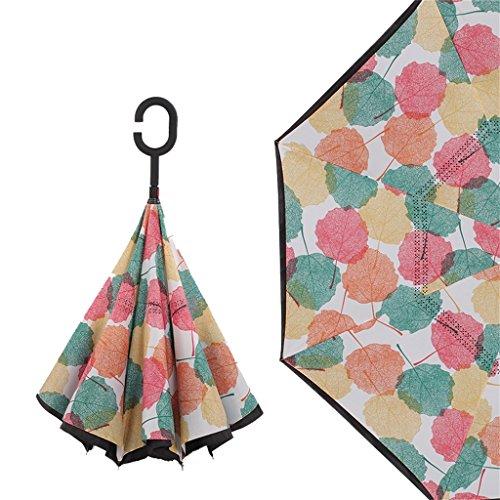 Diseños creativos exquisitos Doble Capa Protección Solar Paravientos Reverse Paraguas Coche Viaje...