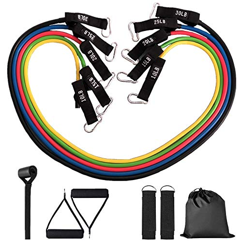 Resistance Bands, AMOON Exercise Resistance Bands Set with Handles, 5 Exercise Tubes, 2 Ankle Straps, Door Anchor, Manual and Carrying Case, Workout Bands for Home Gym, Yoga/Pilates
