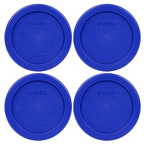 Pyrex 7202-PC Round 1 Cup Storage Lid for Glass Bowls (4, Cobalt Blue)