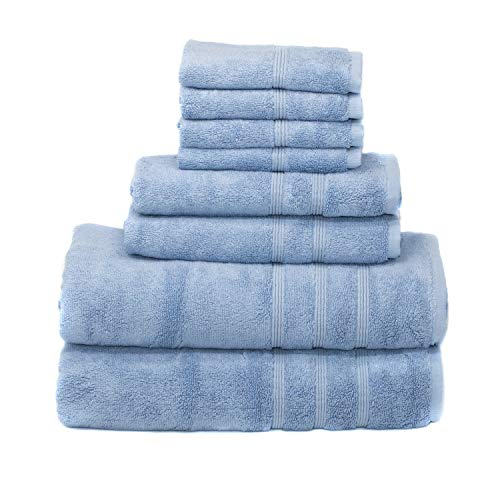 Mosobam 700 GSM Luxury Bamboo 8pc Large Oversized Bathroom Set, Blue, 2 Bath Towels 30X58 2 Hand Towels 16X30 4 Face Washcloths 13X13, Bulk Prime Turkish Towel Sheets Sets, Quick Dry
