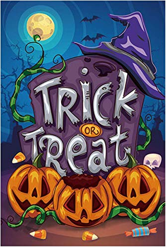 GiftWrap Etc. Trick or Treat Halloween Garden Flag – 12″ x 18″, Double Sided, Halloween Decorations, Spooky Pumpkins, Graveyard, Witch's Hat, Blue and Orange