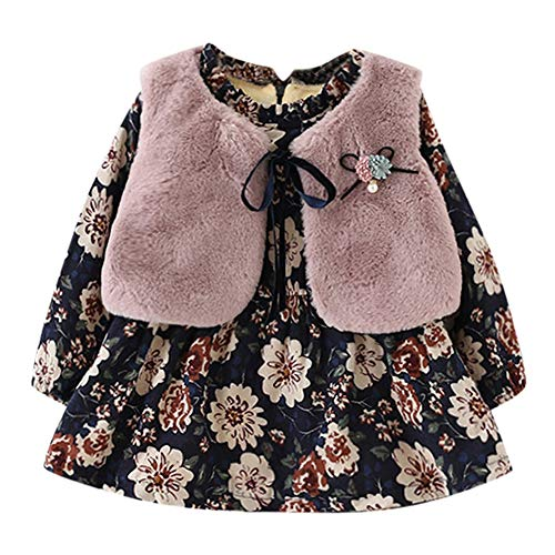 INLLADDY Neugeborenen Mädchen Floral und Samtkleid Mode Pelz Weste Zweiteilige Wilde Prinzessin Kleid Baby Mädchen Floral Faux Pelz Weste Prinzessin Kleid Set Warme Outfits Rosa 80