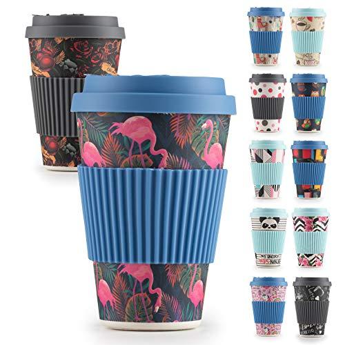 Premium Bambusbecher, 400ml - Coffe to Go Becher getestet von TÜV - Wiederverwendbare Kaffebecher aus natürliche Materialen - Trinkbecher mit Silikondeckel und Banderole (Tropical Flamingo)