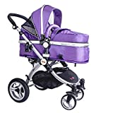 High Quality Baby Stroller IBEIS Prams 2 in 1 for Newborns European Folding Baby Carriage for 0 to 36 Months (Purple)