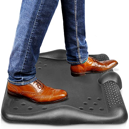 Anti Fatigue Mat - Floor Mat with Acupressure Massage Dots (XL, Black) - Ergonomic Design Standing Desk Mat- Soft & Durable Standing Mat for Standing Desk - Memory Foam Mat for Office, Workplace, Home
