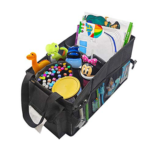 ECWKVN Car Front & Back Seat Organizer with Tissue Box, Passenger Seat Organizer with Cup Holder, Police Storage Container, Car Trunk Organizer for Kids Toys Books Snacks Documents, Games & More