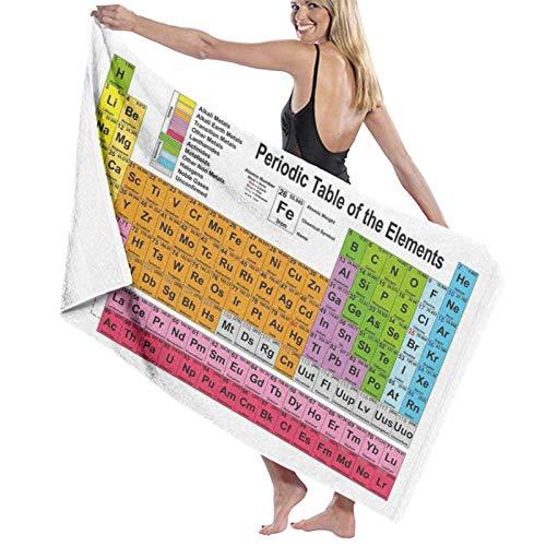 Grande Suave Toalla de Baño Manta,Tabla Periódica para Los Amantes De La Química Freak De La Ciencia Tabla De Elementos,Hoja de Baño Toalla de Playa por la Familia Viaje Nadando Deportes,52' x 32'