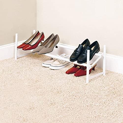 EPYFFJH Rack de Zapatos Hierro Forjado Blanco retráctil de Zapato apilable Estar de Almacenamiento Simple Rack Zapato Estantes de Zapatos