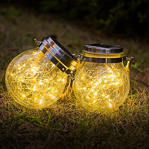Luces LED Solares para Exteriores, 2 Piezas Farolillos Solares Jardin IP65 Impermeable Luz Solar Exterior Decoracion Lamparas para Jardín Balcón Terraza Fiesta