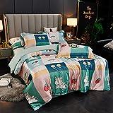 juegos de sábanas infantiles 105,Juego de cuatro piezas de seda de seda de seda de seda de hielo de verano, cama cómoda sedosa cama solo paquete de seda cubierta de seda, traje de cama de satén suave