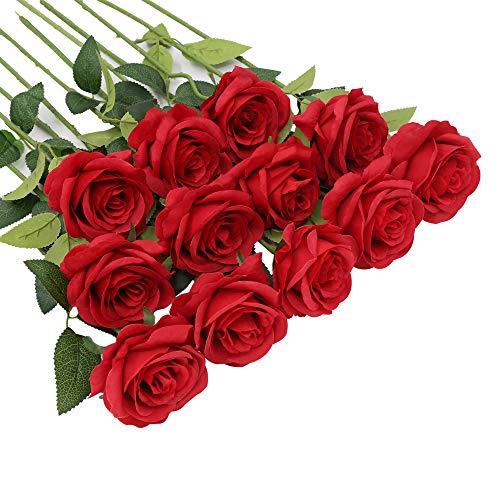 Künstliche Blumen, 12 Stück Rosen Künstliche Blumen Bulk Long Stiel Seidenblumen Rosen Blumenarrangement Blumenstrauß für Zuhause Hochzeit Dekoration (Rot)