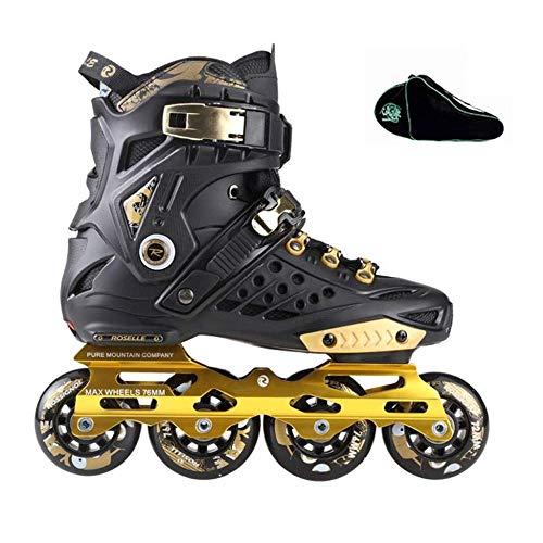 PIAOL Anfänger Damen Rollschuhe Erwachsene Indoor Inline Skates Und Herren Jugend Skates Schwarz Gold,A-38EU