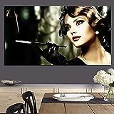 Pintura sin Marco Goddess HD Girl Smoking Woman Canvas Pop Art Painting CanvasCGQ7402 50X100cm