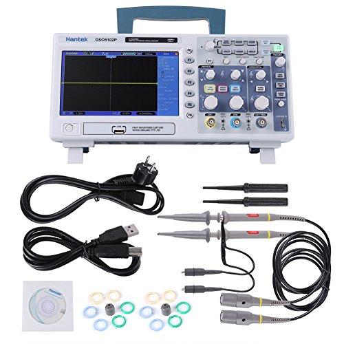 Hantek DSO5102P Osciloscopio USB Stockag digital, Osciloscopio de señal 2CH 100MHz y 110-240V TFT Pantalla LCD 7