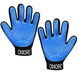 OMORC Pet Grooming Glove, [Upgraded Version] Gentle Deshedding Brush Glove - Efficient Pet Hair Remover Mitt - Massage Tool with Enhanced Five Finger Design - for Dogs Cats Horse Rabbit and More
