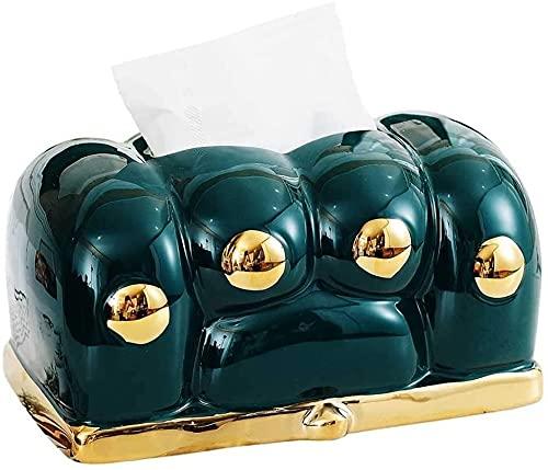 HONGLIUDSF Limpio y ordenado Caja de cerámica Creativa Pata Caja de Tejido casera Sala de Estar de Color Verde Oscuro Gold-Chapado Lindo cajón Artes Caja de Cocina para decoración