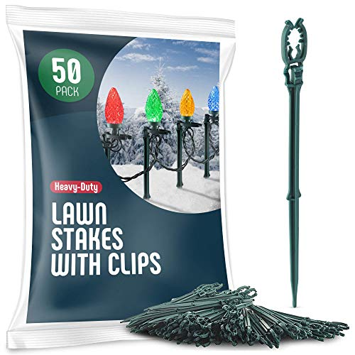 Christmas Light Yard Stakes [Set of 50] Outdoor Light Stakes - 8.5' Tall - Universal Christmas Pathway Lights On Yards, Driveways - Christmas Yard Stakes - Driveway Christmas Light Stakes - USA Made