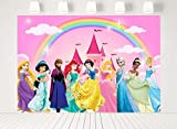 7x5ft Cartoon Princess Theme Rainbow Photography Backdrop Girl 1st First Birthday Party Banner Pink Castle Background Newborn Baby Shower Step and Repeat Dessert Table Banner Photo Studio Props 232
