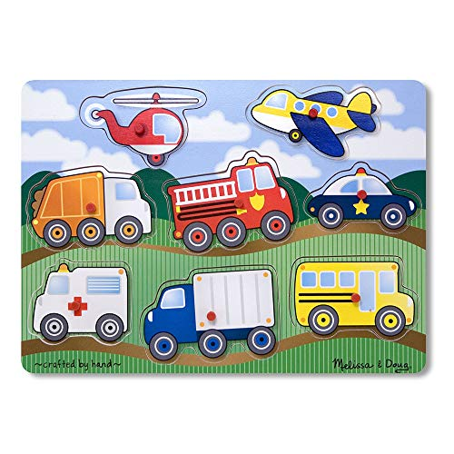 Melissa & Doug Vehicles Wooden Peg Puzzle (Colorful Vehicles Artwork, Extra-Thick Wooden Construction, 8 Pieces, Great Gift for Girls and Boys - Best for 2, 3, and 4 Year Olds)