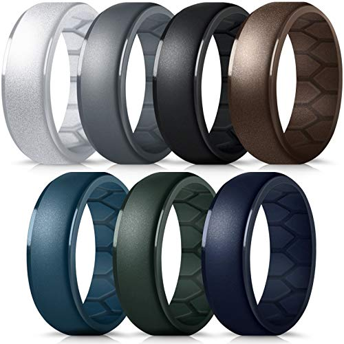 Forthee Silicone Wedding Ring for Men, Breathable Airflow Inner Curve, Mens' Rubber Wedding Engagement Bands for Crossfit Workout, Size 10
