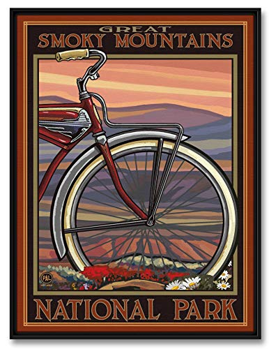 Great Smoky Mountains National Park Old Half Bike Professionally Framed Giclee Archival Canvas Wall Art for Home & Office from Original Travel Artwork by Artist Paul A. Lanquist 18' x 24'