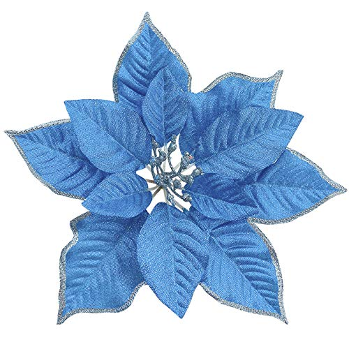 TURNMEON 8.7 Inch Giant Glitter Poinsettia, 12 Pcs Christmas Flowers Picks Decor Artificial Silk Flowers for Christmas Tree Ornaments Wreaths Garland Holiday Decoration (Blue)