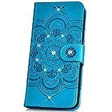 Kompatibel mit Xiaomi Mi A2 Lite Hülle,Bling Glitzer Strass Handyhülle Brieftasche-Stil Handytasche PU Leder Flip Hülle Wallet Tasche Handytasche Cover Etui Hülle für Xiaomi Mi A2 Lite,Mandala Blau