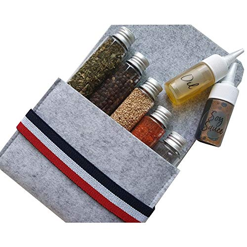 Gogogalle Seasoning Packet 7P Portable Spice Jar 7p Set Camping Kitchen Tool PET Spice Jar Spice Containers Seasoning Box Storage Container Condiment Jars With Pouch For Camping Hiking