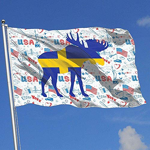 wallxxj Decor Flag Elch Schweden Flagge Brise Flagge Single Layer Yard Flagge Garten Flagge Yard Banner Yard Flagge 150X90Cm