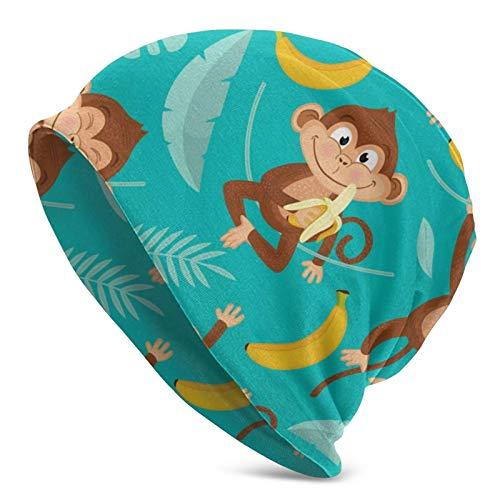 Monkeys Eat Bananas Gorro Unisex con Calavera, Sombrero de Invierno cálido de Punto