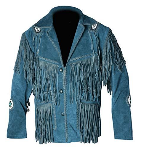 REDWOLF Western Cowboy Style - Chaqueta de Piel de Ante con Flecos para Hombre D7 XXS-5XL Azul Azul X-Large