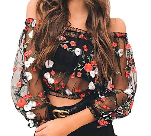 Crop Top Mujer Primavera Camisetas T-Shirt Manga Larga Transparentes Tul Sin Hombro Camisas Elegantes Vintage Moda Bordadas De Flores Blusas Camiseta Negro
