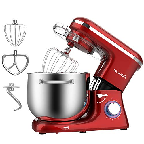 HOWORK Stand Mixer 845 QT Bowl 660W Food Mixer Multi Functional Kitchen Electric Mixer With Dough Hook Whisk Beater 845 QT Red