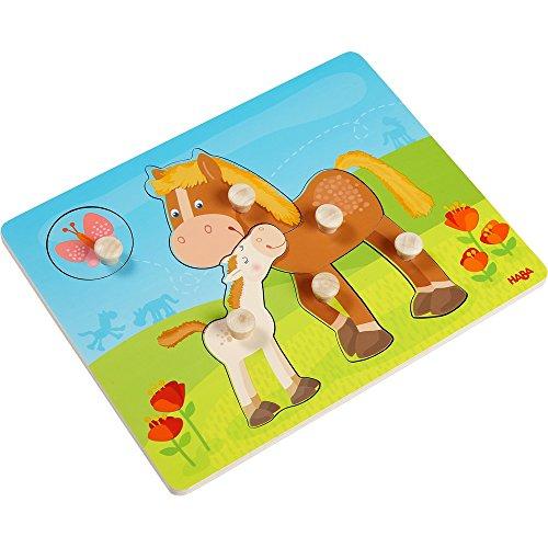 HABA 303771 - Greifpuzzle Pferdefamilie, 6-teiliges Holzpuzzle mit Pferdemotiven und großen, griffigen Holzknöpfen, Holzspielzeug ab 12 Monaten