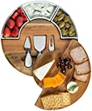 Shanik Cheese Cutting Board Set - Charcuterie Board Set and Cheese Serving Platter. Perfect Meat / Cheese Board and Knife Set for Entertaining and Serving. 3 Knies, Ceramic Bowl and Wine Server Plate.